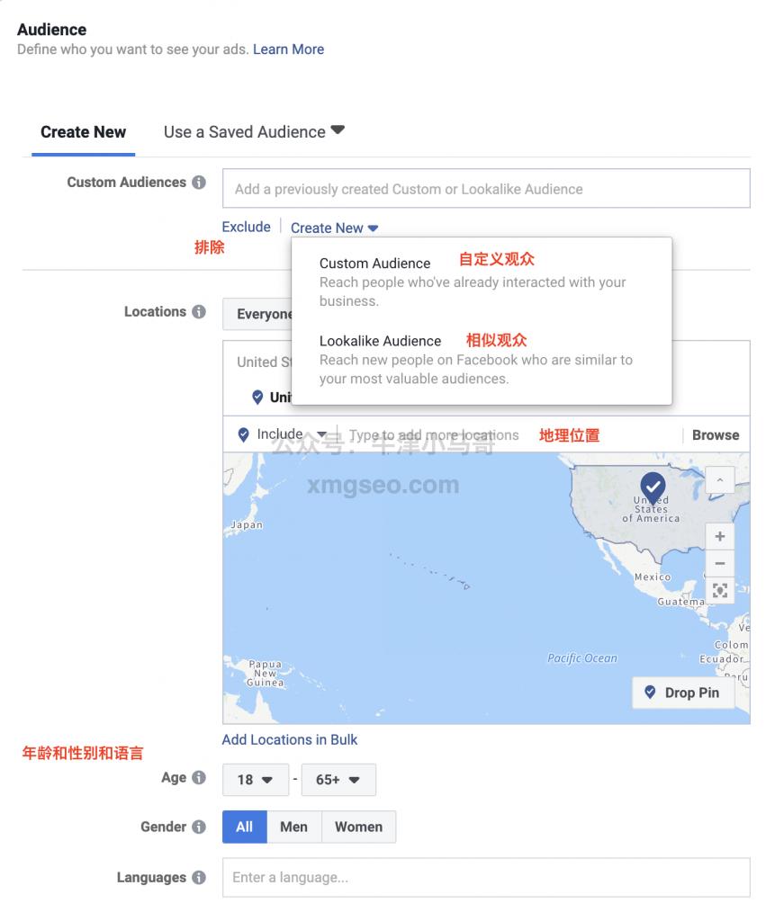 Facebook广告设置人群