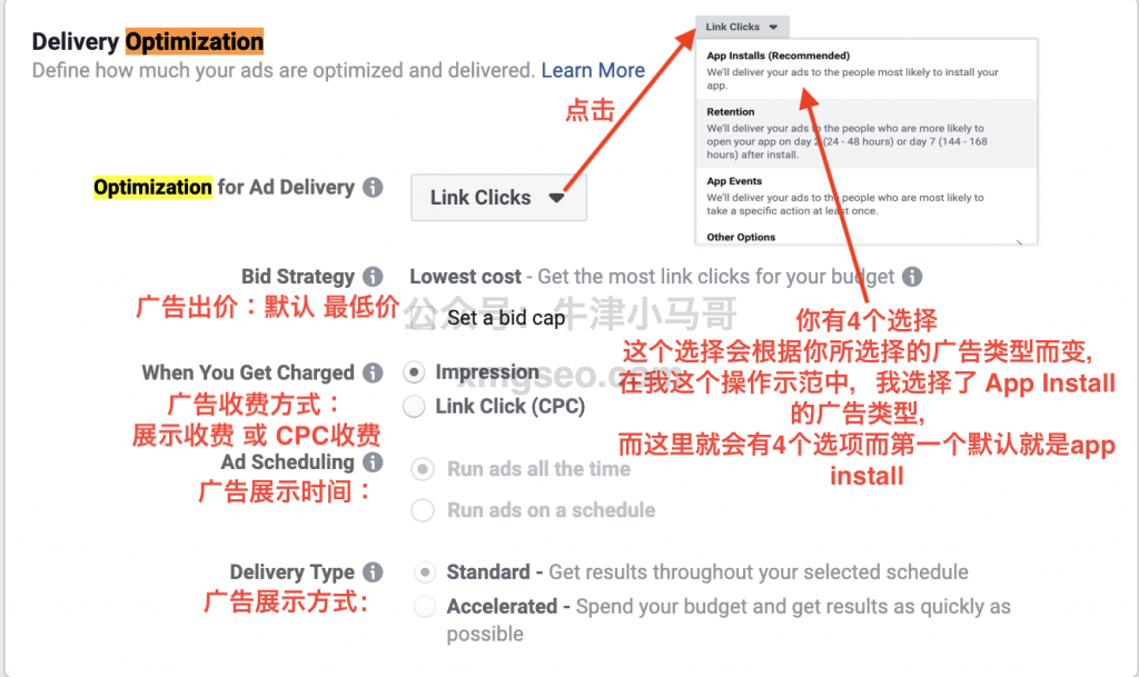 Facebook Delivery Optimization广告设置