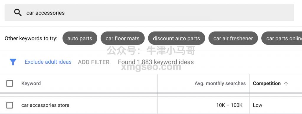 car accessories谷歌关键字搜索量和竞争度