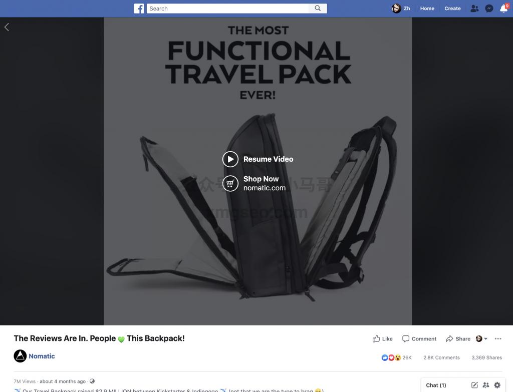 facebook背包广告